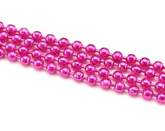 330 Feet - Metallic Pink 2.4mm Ball Chain - For Necklaces, Jewelry, Dog Tag, Home - 100 Meters 110 Yards - Bulk Strand Metal Ball Bead Chain