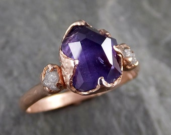 Partially Faceted ultraviolet Sapphire Raw Multi stone Rough Diamond 14k rose Gold Engagement Ring Wedding Gemstone Ring  1172