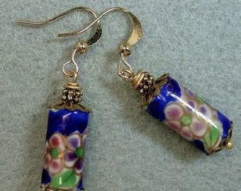 Vintage Chinese Cobalt Blue Porcelain Flower Barrel Bead Dangle Drop Earrings ,Pink,Purple ,Gold French Ear Wires