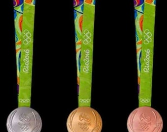 Rio 2016 Olympic Medals Set (Gold/Silver/Bronze) with logo Ribbons & Display Stands