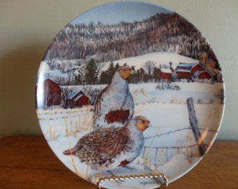 Edwin M. Knowles China Co vintage collector plate, The Gray Partridge, 1987 by artist Wayne Anderson.  Upland Birds of North America