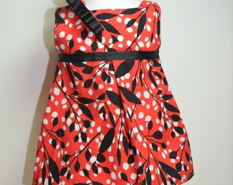 """Pleated 18"""" Doll Dress Red Black White With Headband Fits AG Dolls"""