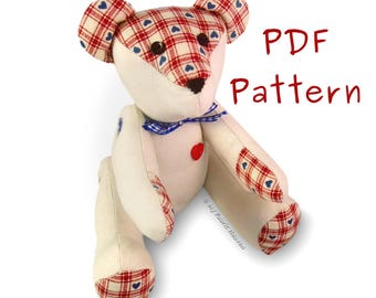 Teddy Bear PDF Sewing PATTERN & Full Instructions Make Your Own Cute Fabric Memory Bear