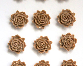12 pcs Mocha Cabochons, Resin Cabochons, Resin Flower, Tan Rose, Mocha Flower, Tan Flower Cabochon, Brown Rose, Cabochon Flower