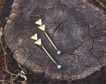 boho geometric triangle howlite drop earrings