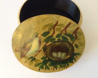 Vintage Handpainted Bird Box