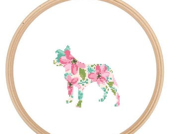 Floppy eared Pitbull Silhouette Cross Stitch Pattern Floral Water color effect Pet animal wall art Dog cross stitch modern trendy great gift
