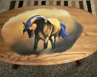 Custom painted coffee table. Horse done in acrylics with a polycrylic clear finish.
