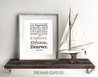 Manly wall art Printable art Mark Twain quote print Explore Dream Discover Nursery quote print Brown and black wall art Motivational quotes