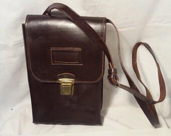 Vintage 1960's Chocolate Brown Leather Officer Field Bag - Shoulder Bag - NEW