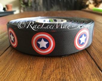 "Captain America ribbon 1"" 25mm/ grossgrain captain America ribbon/captain America hair bow/captain america logo ribbon/super hero ribbon"