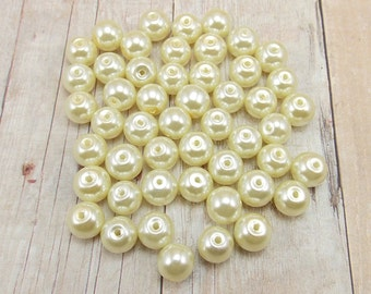 8mm Glass Pearls - Ivory - 50 pieces - Off-White - Wedding
