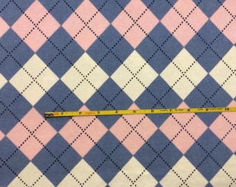 "Cotton poly lycra rib knit 48"" wide Pink and Blue Argyle BIG 1 yard"