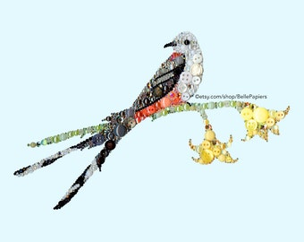 Button Art Birds Colorful Button Canvas Colorful Bird Scissor Tailed Flycatcher Texas Art Birds Button & Swarovski Crystals Bird Art