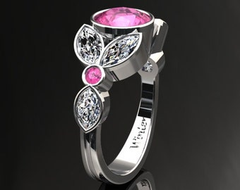 Pink Sapphire Ring 1.50 Carat Pink Sapphire And Moissanite Ring 14k or 18k White Gold. Style Number W16PKW