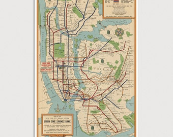 Old New York Subway Map Art Print 1954 Antique Map Archival Reproduction