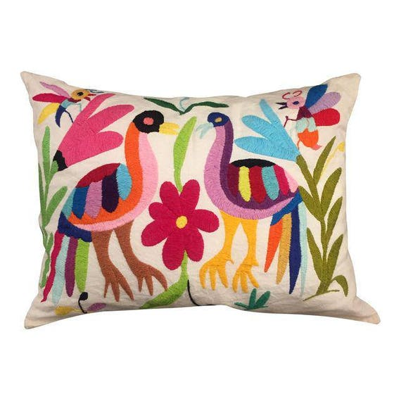 Pre owned Mexican Otomi Handmade Embroidery Pillow
