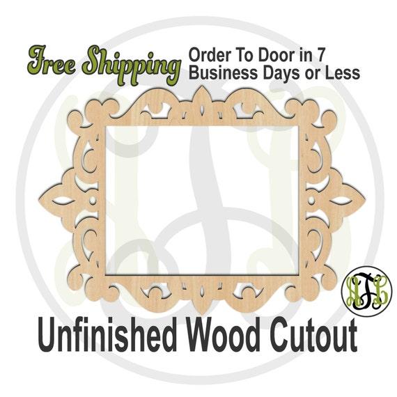 Ornate Frame - 360002- Empty Frame Cutout, unfinished, wood cutout, wood craft, laser cut shape, wood cut out, DIY, Free Shipping