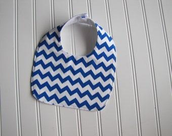 SALE - Chevron Baby Bib - Blue Chevron Bib - Drooling Bib - Infant Bib - Neutral Bib - Baby Gift - Made 4U Handmade Designs