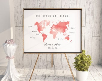 Coral world map etsy printable coral peach watercolor world map guest book editable pdf template diy personalized large print gumiabroncs Image collections