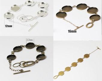 10pcs Silver Adjustable Bangle Bracelet With 12mm 14mm 16mm 18mm 20mm 25mm Round Bronze Cameo Setting, blanks bracelet Cutting