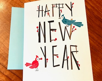 Berry Happy New Year Cards with Birds and Branches - Set of 10 on 100% Recycled Paper