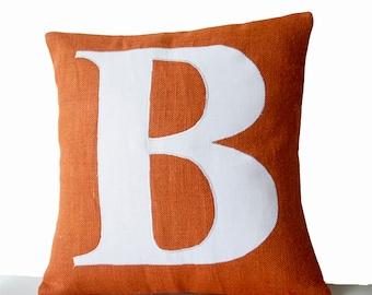Monogram Pillow Cover, Personalized Pillow, Monogrammed Pillow, Autumn Decor, Orange Pillow, Cushion Cover, Housewarming Gift, Wedding Gift