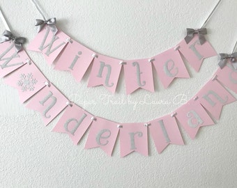 Winter Wonderland Birthday Banner in Pink and Silver Glitter.  Silver Glitter Snowflake. Winter ONEderland Party Decor. 1st Birthday Decor