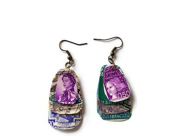 Purple and teal postage stamp earrings, steampunk earrings, dangle earrings, stamp collector, steampunk jewellery, mismatched, upcycled,OOAK