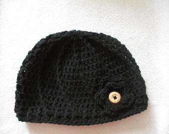 Crocheted Swirl Hat- Black-Beanie-Adult Women's