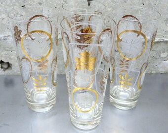 Vintage Glass Tumblers/Set of 4/Leaves of Various Trees in Each Circle/Gold Tone in White and White in Gold Tone/Vintage Barware/Iced Tea