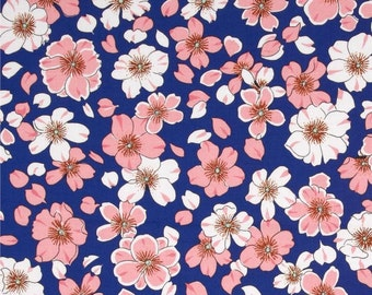 Floral Fabric by the Yard, Japanese, Quilting, Cotton, Asian, Cherry Blossom, Flower, Woodblock, Ukiyoe, Blue, Pink, Decor, Large Print