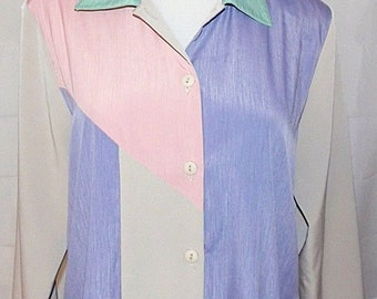 Maggie Sweet Pants Suit 2 Piece Color Block Tunic Shirt Tan Pink Purple Green