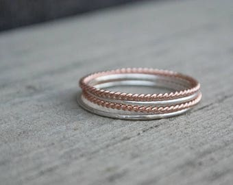 Mixed Metals Stacking Rings Set Rose Gold Argentium Sterling Silver Dainty Stacking Ring Set Rose Gold Twist Rings Thin  Super Skinny Stack