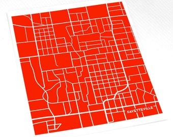 Fayetteville Map Art Print / University of Arkansas City Art Dorm Decor / 8x10 / Choose your Color