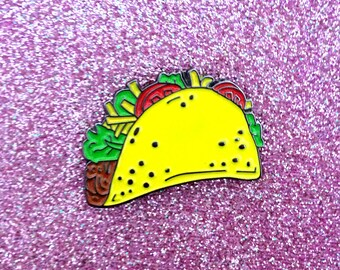 Taco Enamel Pin - Lapel Pin Taco Illustration - Beef Cheese Lettuce Tomato - Mexican Food Enamel Pin