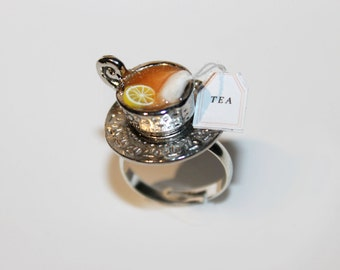 Tea Party Ring - Food Ring - Miniature Food Jewelry