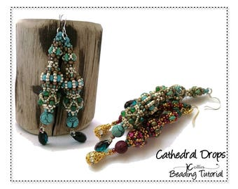 Quick CRAW & PRAW  Earring Pattern, Long Shoulder Duster Earrings, Beading Pattern, Beading Tutorial, Jewellery Instructions CATHERDRALDROPS