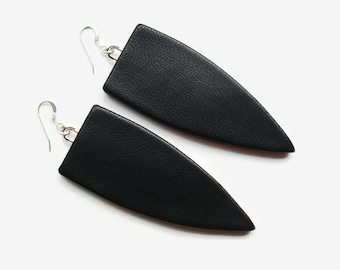 Black Leather Geometric Earrings With Sterling Silver Ear Wires, Statement Earrings, Unusual Gift For Her