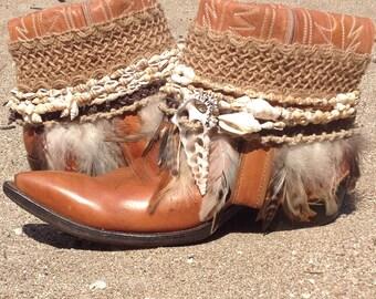 Upcycled Cowboy Boho Boots- Vintage Custom Repurposed- Beach Bohemia