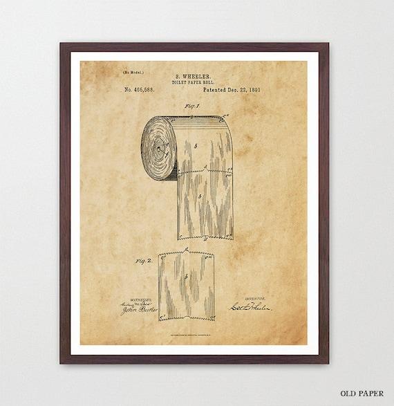 Toilet Paper Design Print - Bathroom Art - Bathroom Wall Print  Patent Print - Patent Poster - Bathroom Humor Funny Poster - Bathroom Decor