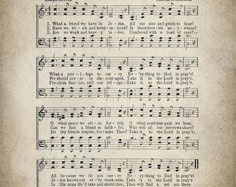 What a Friend We Have in Jesus Hymn Print - Sheet Music Art - Hymn Art - Hymnal Sheet - Home Decor - Music Sheet - Print - #HYMN-P-011