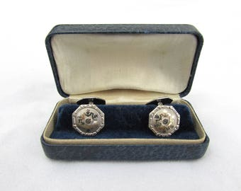 Vintage 30s-40s octagon S&C cuff links, silver tone, double hinged in original box