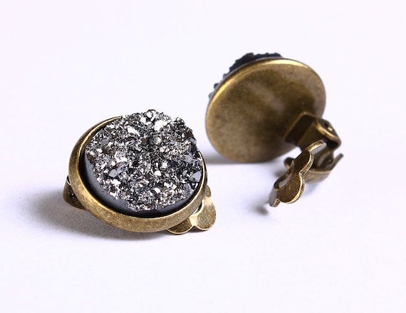 Antique brass silver black clip on earrings -  - Faux Druzy earrings - Lead free Nickel free earrings (750) earrings