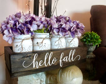 Fall Table Decor. Fall Mason Jars. Fall Centerpiece. Thanksgiving Table Decor. Fall Centerpiece. Rustic Mason Jar Decor. Fall Home Decor.