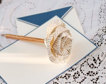 Book Page Paper Rose Pen
