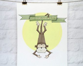 Monkey 'Little Monkey' Art Print 5x7 or 8x10
