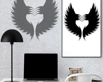 Fly By The Heart Silhouette, INSTANT DOWNLOAD