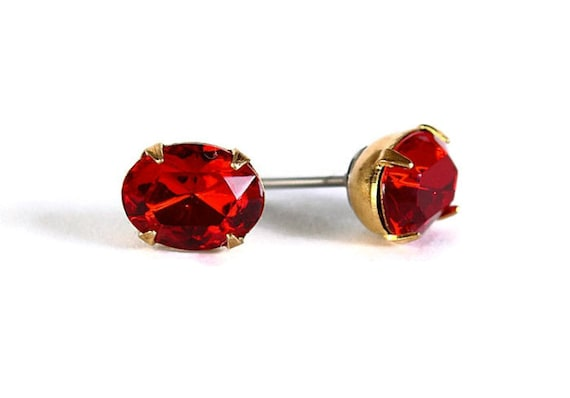 Estate style garnet red austrian crystal stud earrings READY to ship (313)