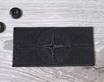 Brand New Replacement Stone Island Black for Jacket Badge and Two Buttons